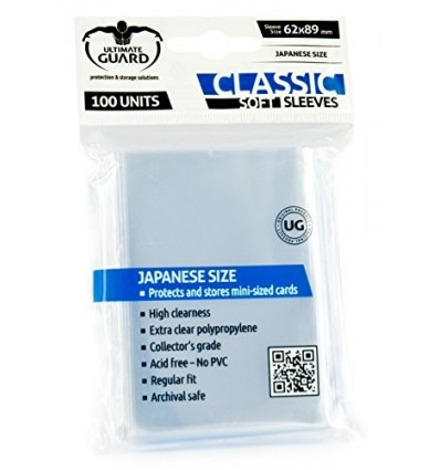 Card Sleeves: Classic Soft Sleeves Japanese Size- Transparent (100)