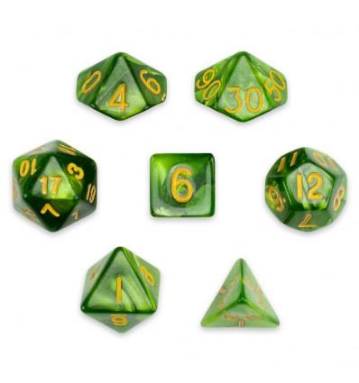 Set de 7 dados - Jade Oil - Marmolado Jade