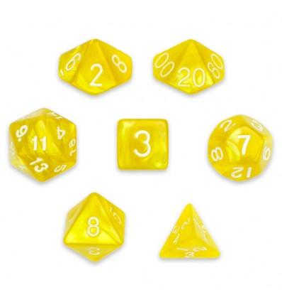 Set de 7 dados - -- King's Ransom - Marmolado Amarillo