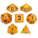 Set de 7 dados - Dwarven Brandy - Marmolado Naranja