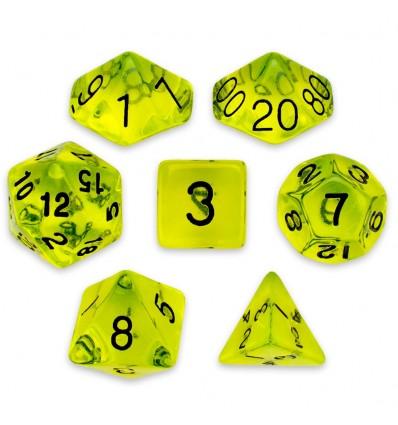Set de 7 dados - Boiled Bile - Transparente Amarillo Limón