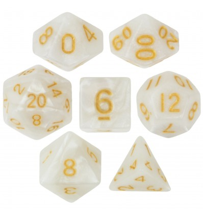 Set de 7 dados - Forbidden Treasure (Sparkle White) - Marmolado Blanco