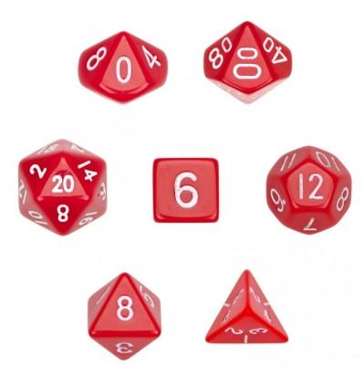 Set de 7 dados - Solid Red - Opaco Rojo