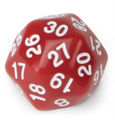 30 Sided Red with White Numbers Polyhedral Dice