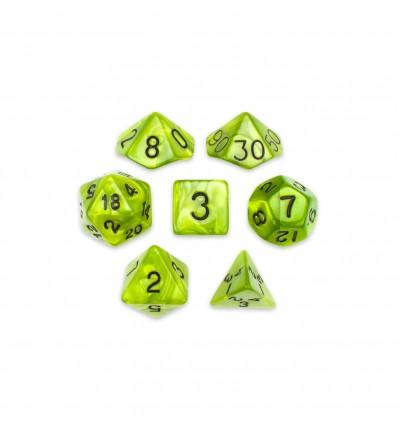 Set De 7 Dados Mini - Swamp Ooze - Marmolado Verde Musgo