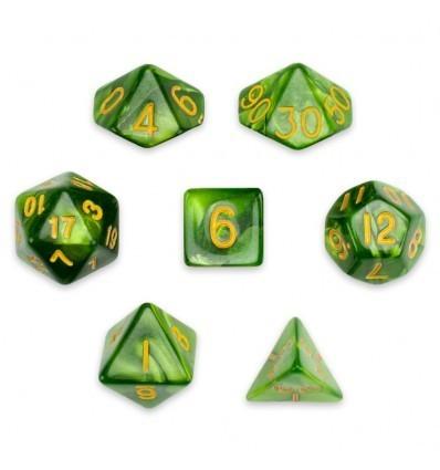 Set De 7 Dados Mini - Jade Oil - Marmolado Jade