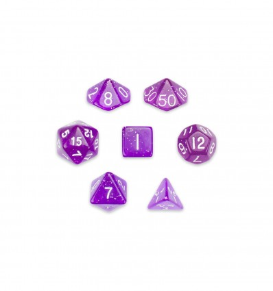 Set De 7 Dados MIni - Arcane Aura - Transparente Violeta Con Pintitas