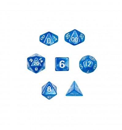 Set De 7 Dados Mini - Horizon (Pearlecent Blue) - Marmolado Azul Claro