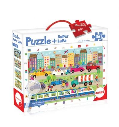 Rompecabezas Puzzle + Super Lupa Ciudad 36 Piezas
